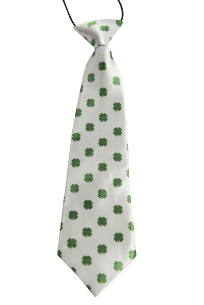 White with Green Shamrocks (Children's Tie)