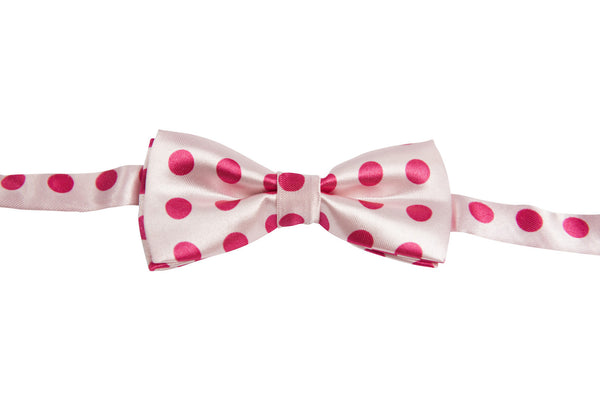 Light Pink with Hot Pink Dots (Children's Bow Tie)