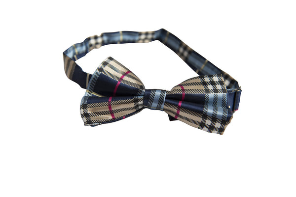 Dark & Light Blue, Cream, Black, White, Magenta Tartan Plaid (Bow Tie)