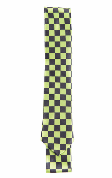 Bright /Neon Green & Black Checkerboard Pattern (Skinny Tie)
