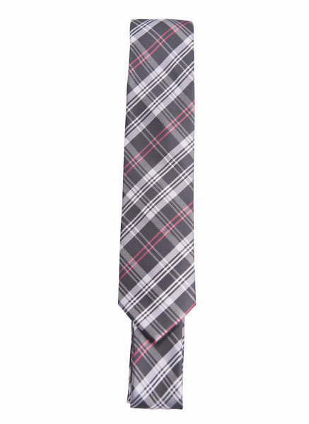 Black, White, Dark Pink Plaid (Skinny Tie)