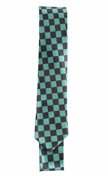 Green & Black Checkerboard Pattern (Skinny Tie)