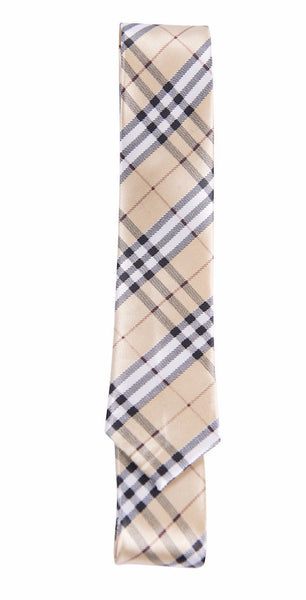 Light Tan, Black & White, Maroon Tartan Plaid (Skinny Tie)