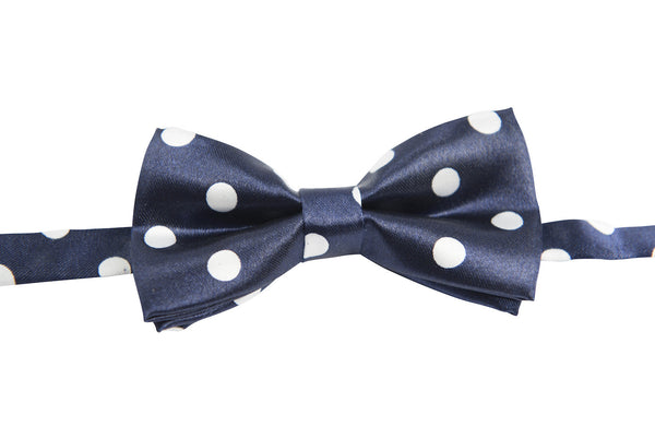 Navy Blue with Large White Dots (Children's Bow Tie)