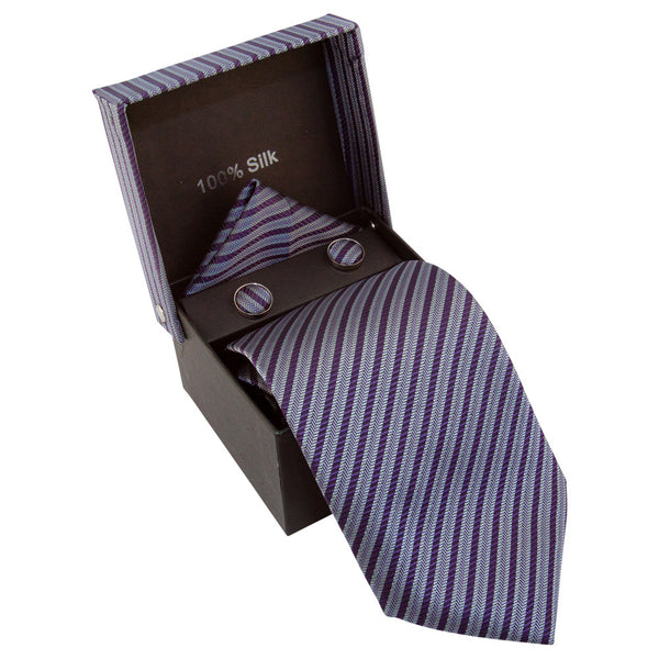 Dark Purple & Gray Striped Specialty Box