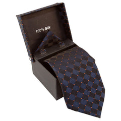 Dark Blue & Black Checkered with Orange Dots Specialty Box