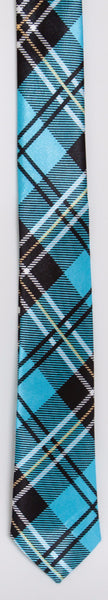 Bright, Light Blue, Black, & White Tartan Plaid (Skinny Tie)