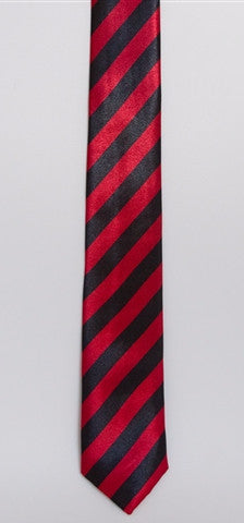 Red & Black Striped (Skinny Tie)