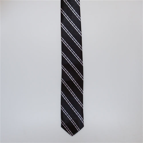 Black & Patterned Double White Striped (Skinny Tie)