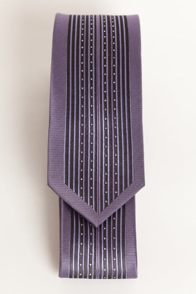 Purple & Black Stripe with Silver Dots (Skinny Tie)