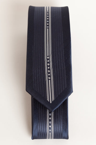 Midnight Blue with Gray Vertical Stripe (Skinny Tie)