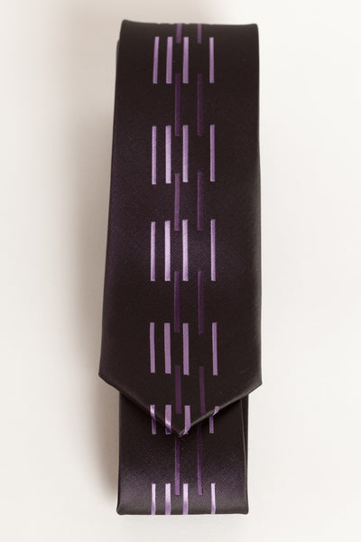 Tri-Purple with Vertical Dashes (Skinny Tie)