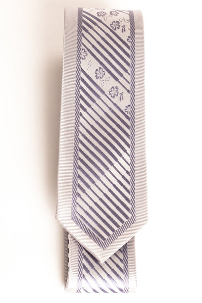 Light Purple & Gray Diagonal Stripe with Floral Design (Skinny Tie)