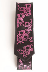 Black & Fuchsia Circle Bunches (Skinny Tie)