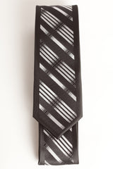 Black & Gray Diagonal Stripes (Skinny Tie)