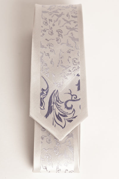 Gray Design with Periwinkle Floral Tip (Skinny Tie)