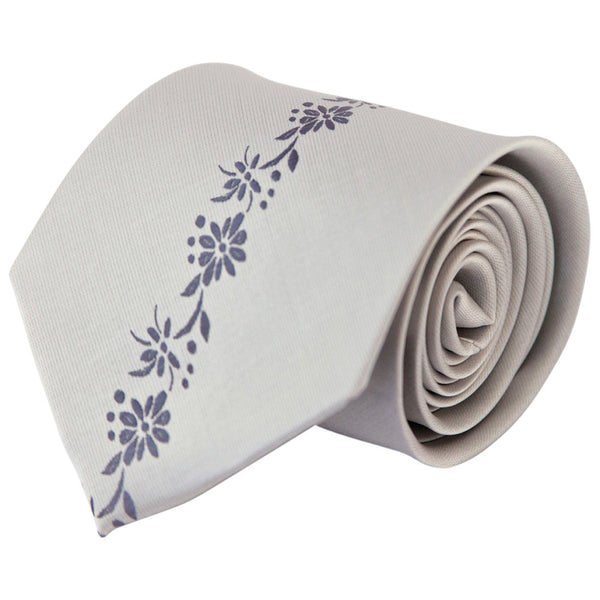 Light Gray with Periwinkle Center Floral Stripe (Traditional Tie)