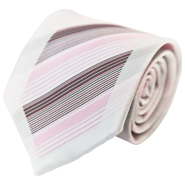 White, Pink, Black, & Red Diagonal Stripes (Traditional Tie)