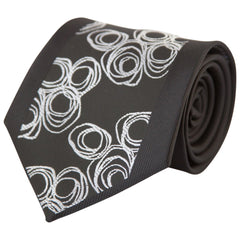 Black w/ Silver Circle Bunches (Traditional Tie)