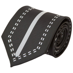 Black & Silver Dashed Border (Traditional Tie)