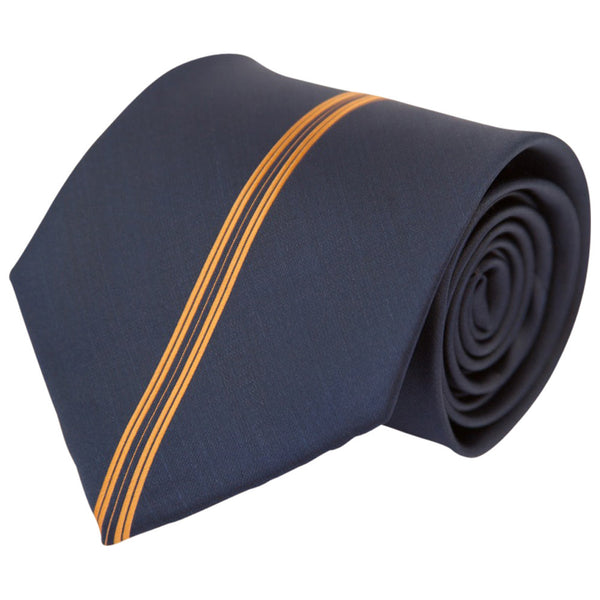 Navy with Orange Center Stripe (Traditional Tie)