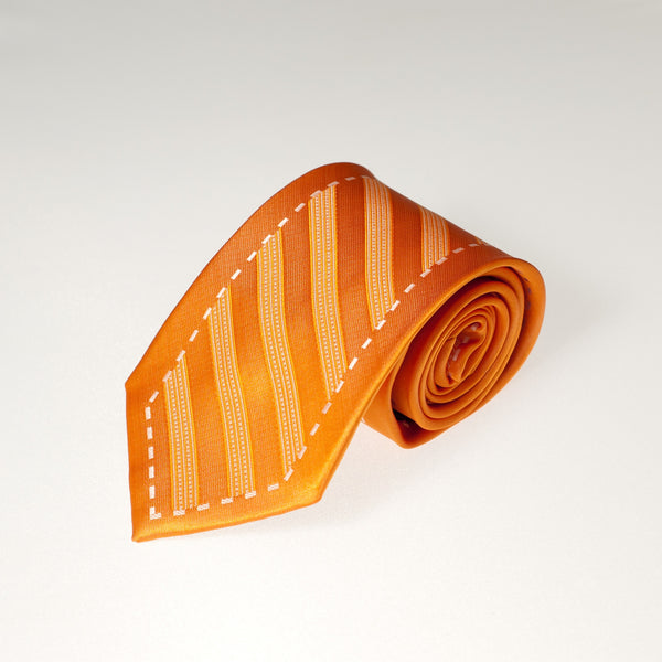 Orange Striped with Border (Traditional Tie)
