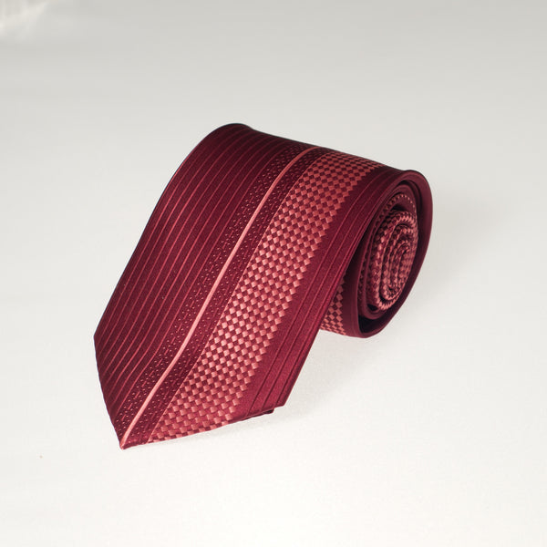 Red Checker & Stripe (Traditional Tie)