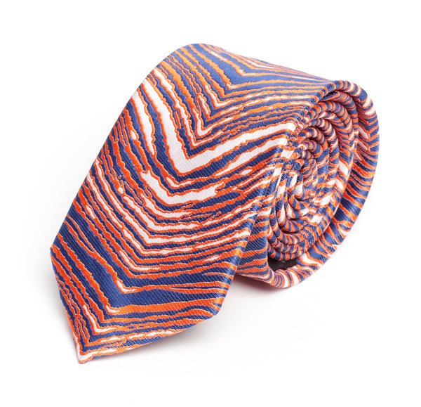 Orange, Navy Blue & White Zubaz Tie