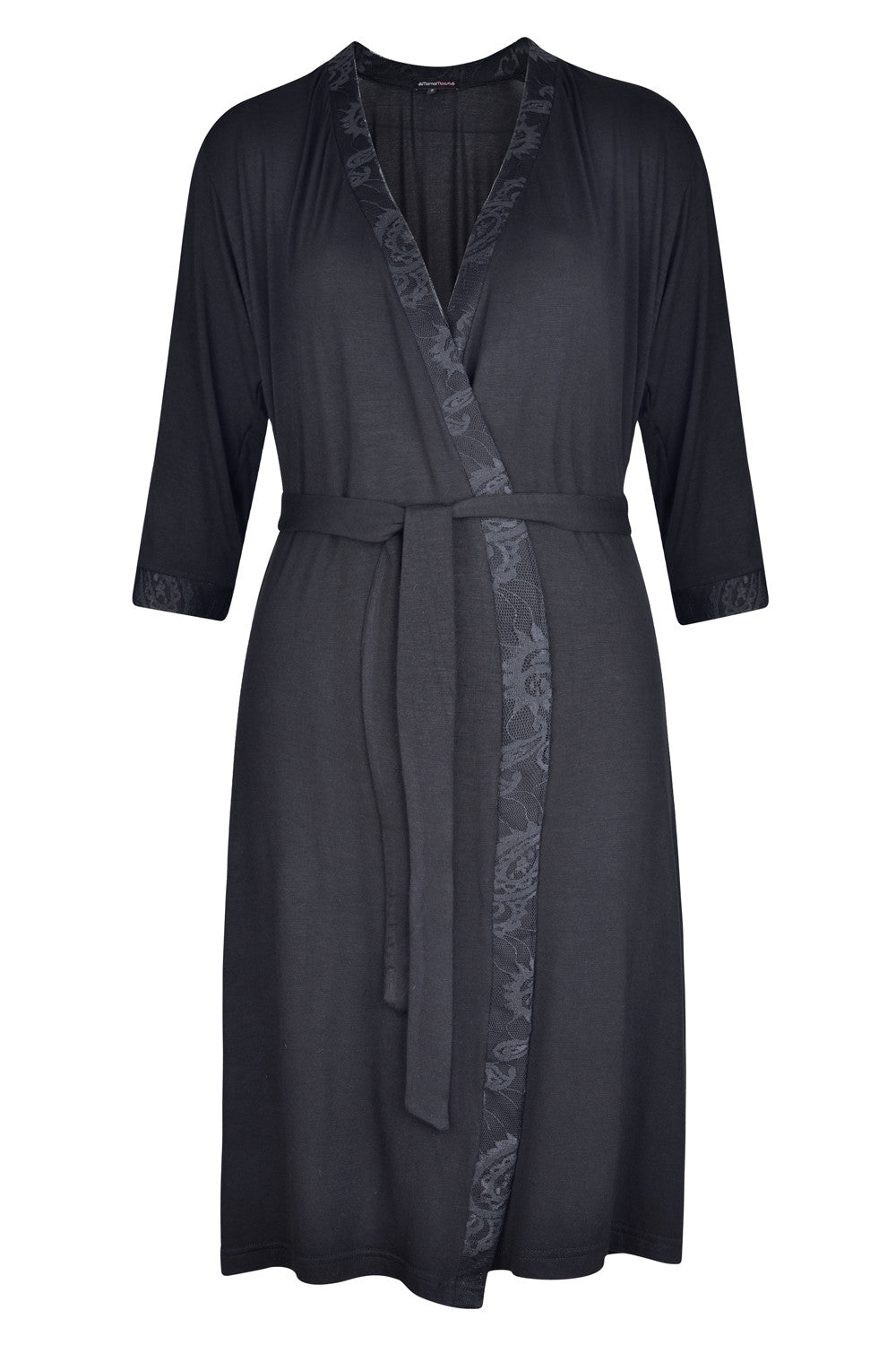 0824df3e8f1 MamaMoosh Indulgence Maternity Dressing Gown Black - front ...