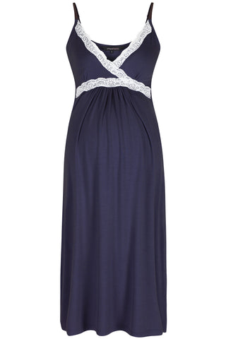 MamaMoosh Radiance Maternity Breastfeeding Nightie Navy