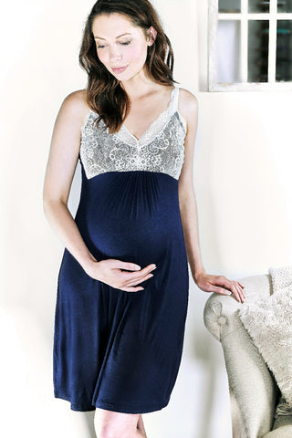 Allure Maternity and Breastfeeding Nightdress Navy MamaMoosh