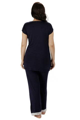 Allure Short Sleeve Pyjamas - Navy