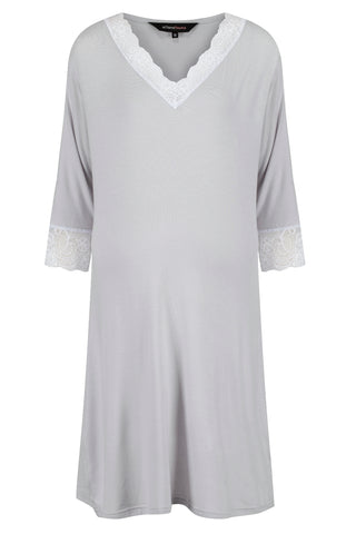 Allure Maternity & Breastfeeding Nightshirt in Light Grey MamaMoosh