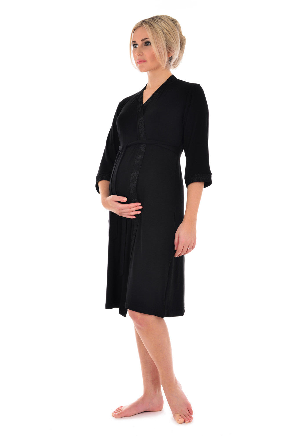 96e2751f83a ... MamaMoosh Indulgence Maternity Dressing Gown Black - front ...