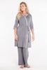 MamaMoosh Mirage Maternity Breastfeeding Nursing Pyjamas Grey shown with Dressing Gown
