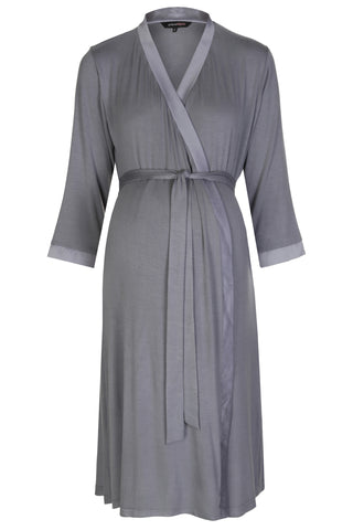 Mirage maternity nursing dressing gown robe grey
