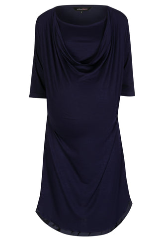 MamaMoosh Mirage Maternity Nursing Breastfeeding Nightshirt Navy