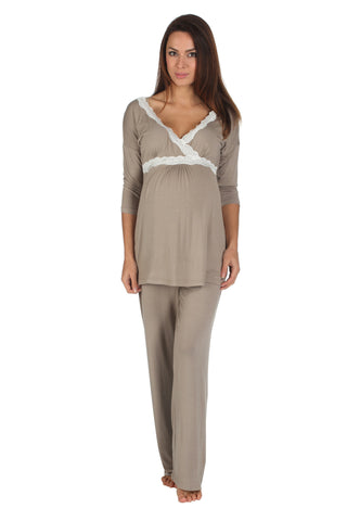 Radiance Three quarter sleeve nursing and maternity pyjamas in mink