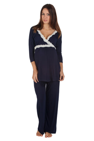 Radiance Three quarter sleeve nursing and maternity pyjamas in navy