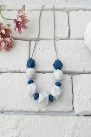 Tutti Rocks Teething Necklace - Cleo Marble and Navy