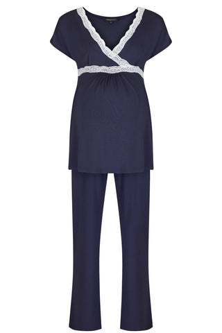 Radiance Short Sleeve Maternity Breastfeeding Pyjamas in Navy