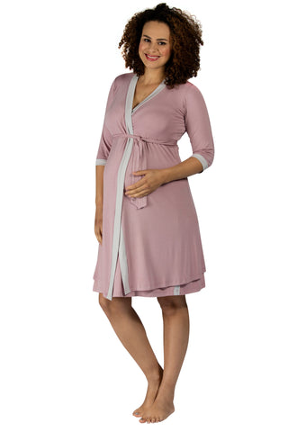 Vogue Dressing Gown - Dusky Pink