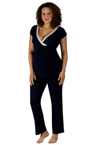 Vogue Short Sleeve Pyjamas - Navy/Soft Grey