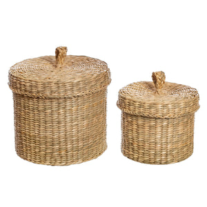 Sass & Belle Seagrass Baskets With Lid - Set of Two