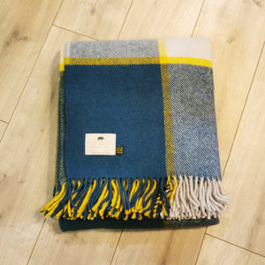 Forager Block Check Blanket - Ink & Yellow