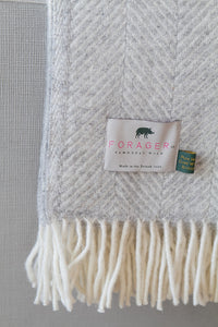 Forager Fishbone Knee Blanket - Silver Grey