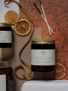Half Light Scented Soy Candle In Amber Jar - Medium
