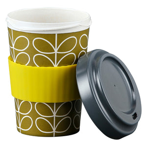 Orla Kiely Dark Moss Linear Stem Bamboo Travel Cup