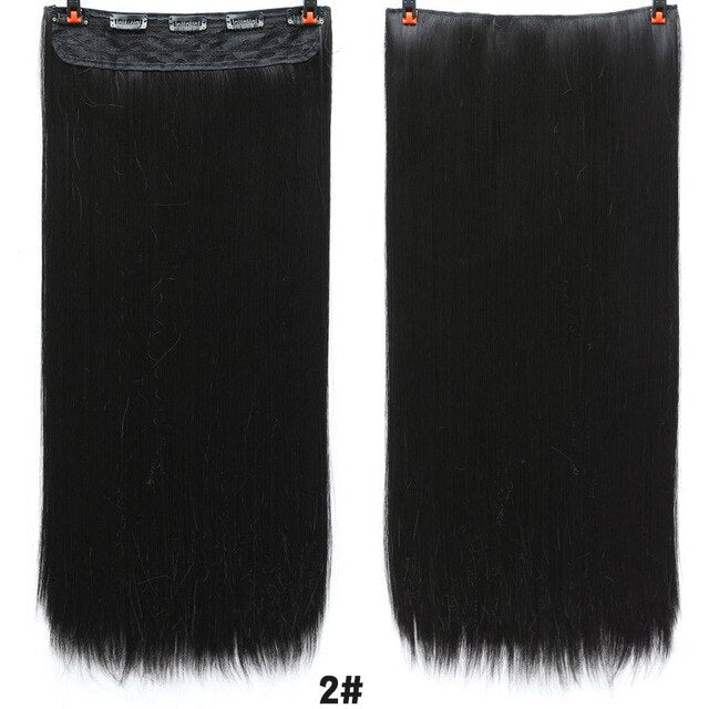 AOSI 60cm Long Straight Black Gray Blonde Women Ombre  High Tempreture Synthetic Hairpiece 5 Clip in Hair Extensions Hair Piece