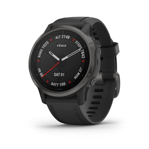 Garmin Fenix 6S Sapphire Carbon Grey DLC Black Band GPS Watch